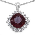 Ruby:Cushion/12.00mm 1/7.25 ctw + Topaz White:Round/2.50mm 18/1.44 ctw #28252v3