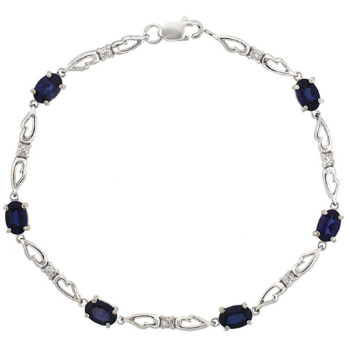 10k White Gold Double Fancy Heart Tennis Bracelet 0.05 ct Diamonds & 3.0 ct Oval Created Blue Sapphire, 3/16 inch wide #15418v3