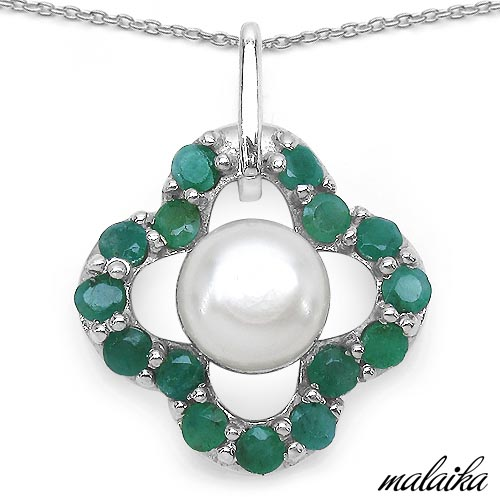 Emerald:Round/2.50mm 15/1.00cts + Pearl:Round 1/2.50cts #33584v3