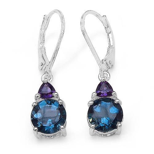 Topaz Blue:Round/8.00mm 2/6.00 ctw + Amethyst:Trillion/4.00mm 2/0.50 ctw #33390v3