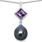 Amethyst:Square/7mm 1/1.50 ctw + Pearl:Drop/12X10mm 1 #28218v3