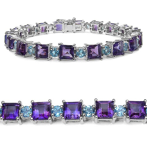 Amethyst:Square/6.00mm 18/18.00 ctw + Topaz Blue:Round/4.00mm 18/5.76 ctw #33248v3