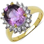 Amethyst:Oval/10X8mm 1/2.50 ctw + Cubic Zircon White:Round/1.50mm 18/0.54 ctw #28382v3