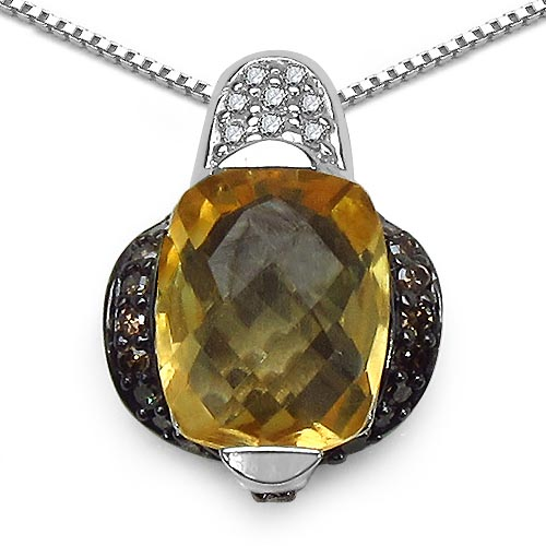 Citrine:Cushion/10x8mm 1/2.55 ctw + Diamond Champagne:Round/1.20mm 32/0.29 ctw + Diamond White:Round/1.10mm 10/0.07 ctw #33639v3
