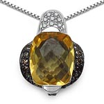 Citrine:Cushion/10x8mm 1/2.55 ctw + Diamond Champagne:Round/1.20mm 32/0.29 ctw + Diamond White:Round/1.10mm 10/0.07 ctw #28177v3