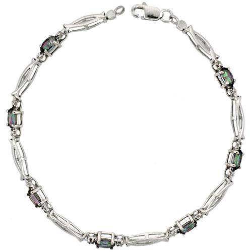 10k White Gold Christian Fish Tennis Bracelet 0.05 ct Diamonds & 1.75 ct Oval Mystic Topaz, 1/8 inch wide #15402v3
