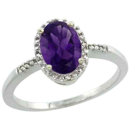 10K White Gold Diamond Natural Amethyst Ring Oval 8x6mm, sizes 5-10 #15549v3