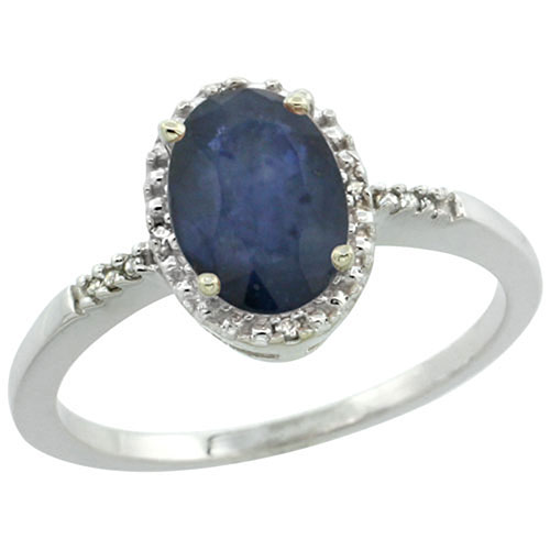 Sterling Silver Diamond Blue Sapphire Ring Oval 8x6 mm, sizes 5-10 #15456v3