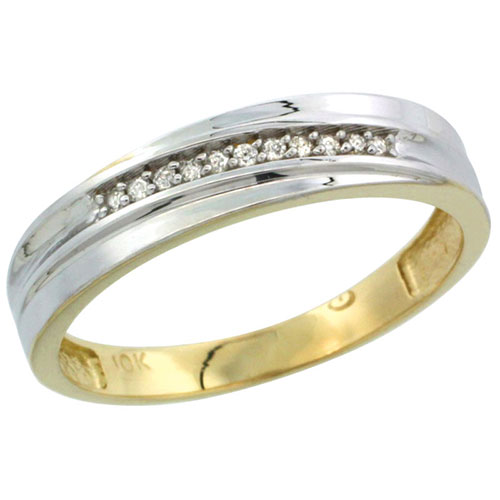 10k Yellow Gold Mens Diamond Wedding Band Ring 0.03 cttw Brilliant Cut, 3/16 inch 5mm wide #15451v3