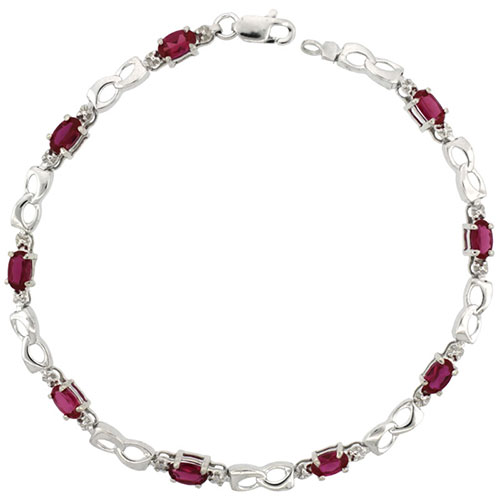 10k White Gold Double Loop Tennis Bracelet 0.05 ct Diamonds & 2.25 ct Oval Created Ruby, 1/8 inch wide #15410v3