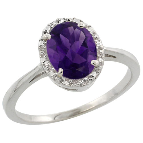 10k White Gold Natural Amethyst Ring Oval 8x6 mm Diamond Halo, sizes 5-10 #15551v3
