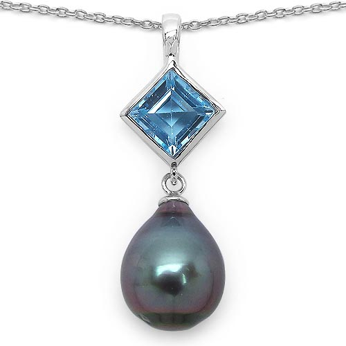 Pearl:Drop/12X10mm 1 + Topaz Blue:Square/7mm 1/1.50 ctw #33600v3