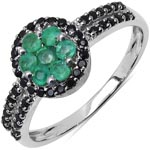 Emerald:Round/2.00mm 7/0.41 ctw + Black Spinel:Round/1.00mm 41/0.31 ctw #28475v3