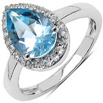 Topaz Blue:Pear/10x7mm 1/2.61 ctw + Topaz White:Round/1.20mm 22/0.22 ctw #28372v3