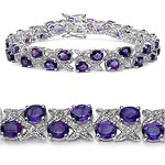 Amethyst:Oval/5x4mm 36/12.24 Ctw + Topaz White:Round/ 1.20mm 36/0.36 Ctw #28447v3