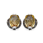 Citrine:Briolite Cushion/8x6mm 2/2.60 ctw + Diamond Black:Round/1.20mm 60/0.54 ctw #28520v3