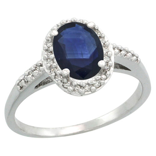 Sterling Silver Diamond Blue Sapphire Ring Oval 8x6 mm, sizes 5-10 #15457v3