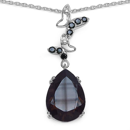 Topaz Smoky:Pear/16x12mm 1/7.21 ctw + Black Spinel:Round/2.00mm 7/0.32 ctw #33590v3