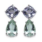 Amethyst Pink:Cushion/8.00mm 2/4.40 ctw + Amethyst Green:Pears/12x8mm 2/5.00 ctw #28490v3