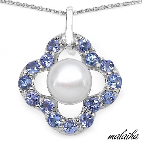 Pearl:Round 1/2.50cts + Tanzanite:Round/2.50mm 15/1.20cts #33587v3
