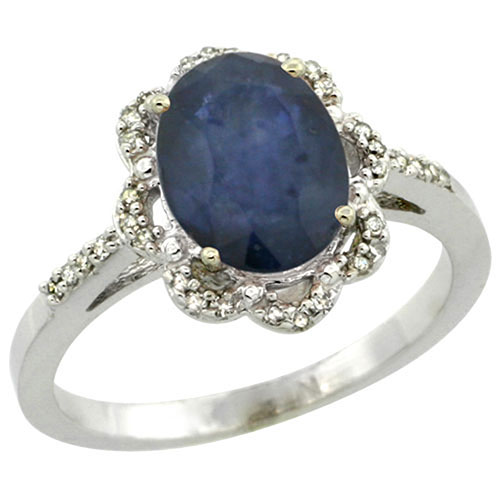 Sterling Silver Diamond Natural Blue Sapphire Ring Oval 9x7 mm, sizes 5-10 #15455v3
