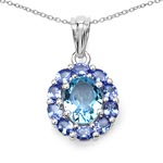 Topaz Blue:Oval/10x8mm 1/3.25 ctw + Tanzanite:Oval/4x3mm 10/1.70 ctw #28189v3