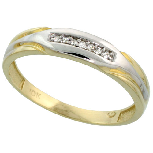 10k Yellow Gold Mens Diamond Wedding Band Ring 0.03 cttw Brilliant Cut, 1/4 inch 6mm wide #15446v3