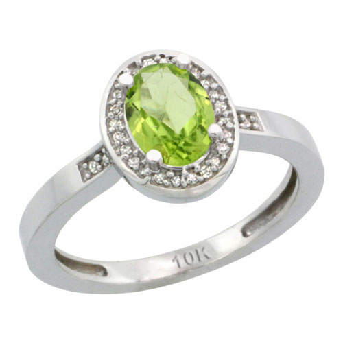 10K White Gold Diamond Natural Peridot Ring Oval 7x5mm, sizes 5-10 #15357v3