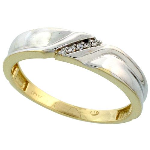 10k Yellow Gold Mens Diamond Wedding Band Ring 0.03 cttw Brilliant Cut, 3/16 inch 5mm wide #15443v3