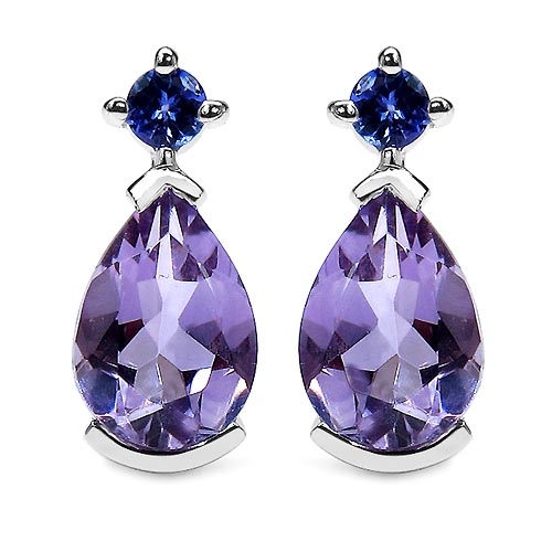 Amethyst:Pears/10x7mm 2 /2.70 ctw + Tanzanite:Round/3.00mm 2 /0.20 ctw #33444v3