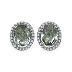 Amethyst Green:Oval/8x6mm 2/2.14 ctw + Diamond White:Round/1.00mm 50/0.29 ctw #28515v3