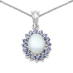 Opal:Oval/10x8mm 1/1.80 ctw + Tanzanite:Round/2.00mm 16/0.56 ctw #28186v3