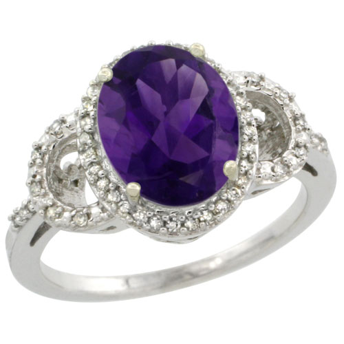 10K White Gold Diamond Halo Natural Amethyst Ring Oval 10X8 mm, sizes 5-10 #15556v3