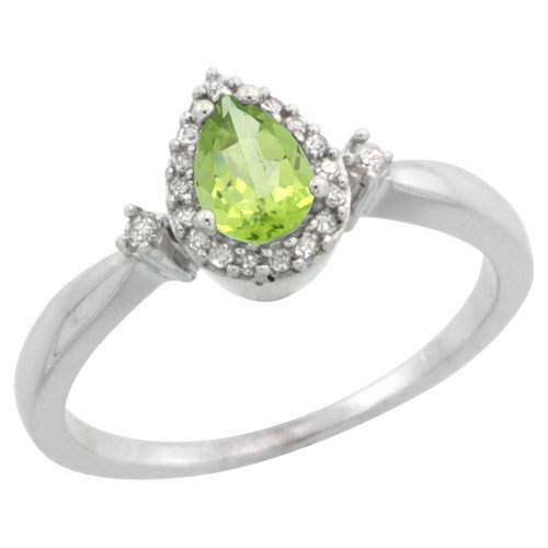 10K White Gold Diamond Natural Peridot Ring Pear 6x4mm, sizes 5-10 #15360v3