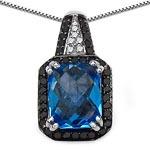 Blue Topaz(Swiss): + Diamond Black:Round/1.00mm 38/0.22 ctw + Diamond White:Round/1.00mm 6/0.03 ctw #28288v3