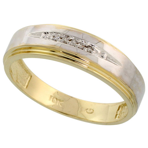10k Yellow Gold Mens Diamond Wedding Band Ring 0.04 cttw Brilliant Cut, 3/16 inch 5mm wide #15445v3
