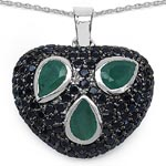 Emerald:Pear/6x4mm 3/1.30 ctw + Black Spinel:Round/1.50mm 99/1.80 ctw #28213v3