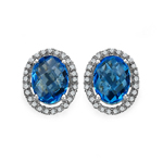 Topaz Blue:Briolite Oval/8x6mm 2/2.60 ctw + Diamond White:Round/1.00mm 50/0.29 ctw #28514v3