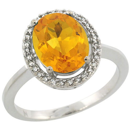 Sterling Silver Diamond Halo Natural Citrine Ring Oval 10x8 mm, sizes 5-10 #15461v3