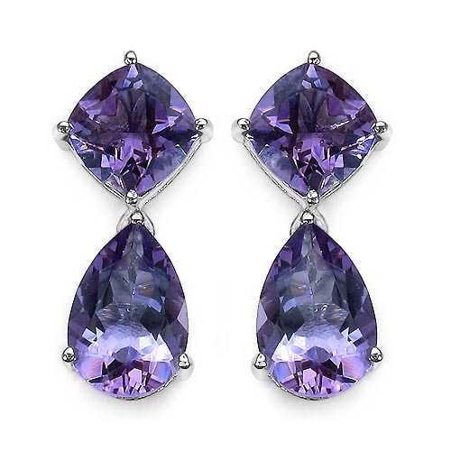 Amethyst:Pear/12x8mm + Amethyst:Cushion/8.00mm 2/4.40 ctw + Diamond White:Round/0.90mm 2/0.01 ctw #33400v3