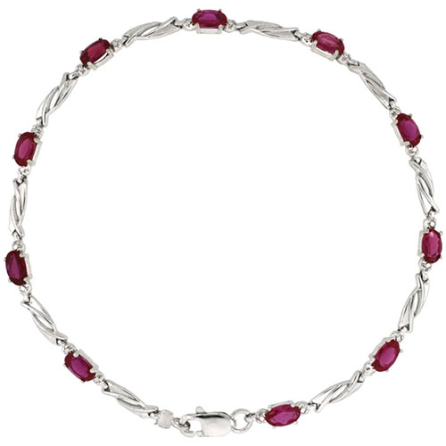 10k White Gold Swirl Tennis Bracelet 0.05 ct Diamonds & 2.50 ct Oval Created Ruby, 1/8 inch wide #15408v3