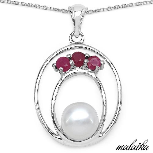 Pearl:Round 1/2.50 ctw + Ruby:Round/3.00mm 3/0.56 ctw #33576v3