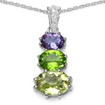 Quartz Lemon:Oval/11x8mm 1/3.15 ctw + Peridot:Oval/9x7mm 1/1.80 ctw + Amethyst:Oval/8x6mm 1/1.20 ctw #28291v3