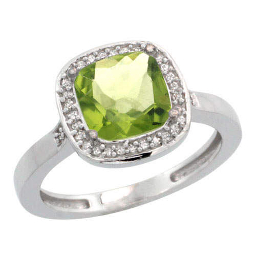 10K White Gold Diamond Natural Peridot Ring Cushion-cut 8x8mm, sizes 5-10 #15358v3