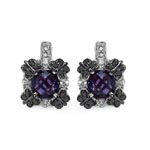 Amethyst:Briolite Cushion/6.00mm 2/1.76 ctw + Sapphire White:Round/2.00mm 16/0.80 ctw + Diamond Black:Round/1.10mm 16/0.11 ctw #28510v3