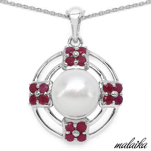Pearl:Round 1/4.00 ctw + Ruby:Round/2.50mm 16/1.95 ctw #33615v3