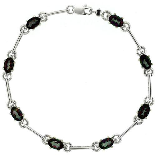 10k White Gold Dash Bar Tennis Bracelet 0.05 ct Diamonds & 4.0 ct Oval Mystic Topaz, 3/16 inch wide #15403v3