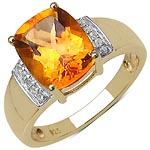 Citrine:Cushion/10x8mm 1/2.60 ctw + Diamond White:Round/1.00mm 10/0.06 ctw #28256v3