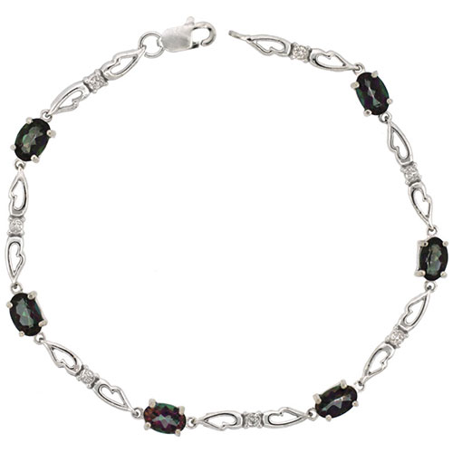 10k White Gold Double Fancy Heart Tennis Bracelet 0.05 ct Diamonds & 3.0 ct Oval Mystic Topaz, 3/16 inch wide #15405v3