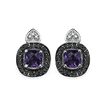 Amethyst:Cushion/5.00mm 2/1.00 ctw + Diamond Black:Round/1.10mm 40/0.28 ctw + Diamond White:Round/1.10mm 12/0.08 ctw #28521v3